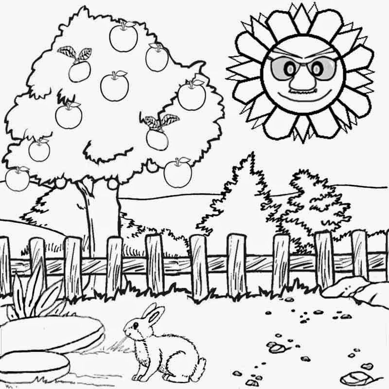 scenery coloring pages - scenery drawing sketch templates