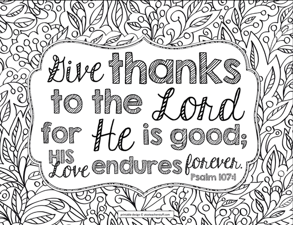 scripture coloring pages - give thanks bible verse coloring page