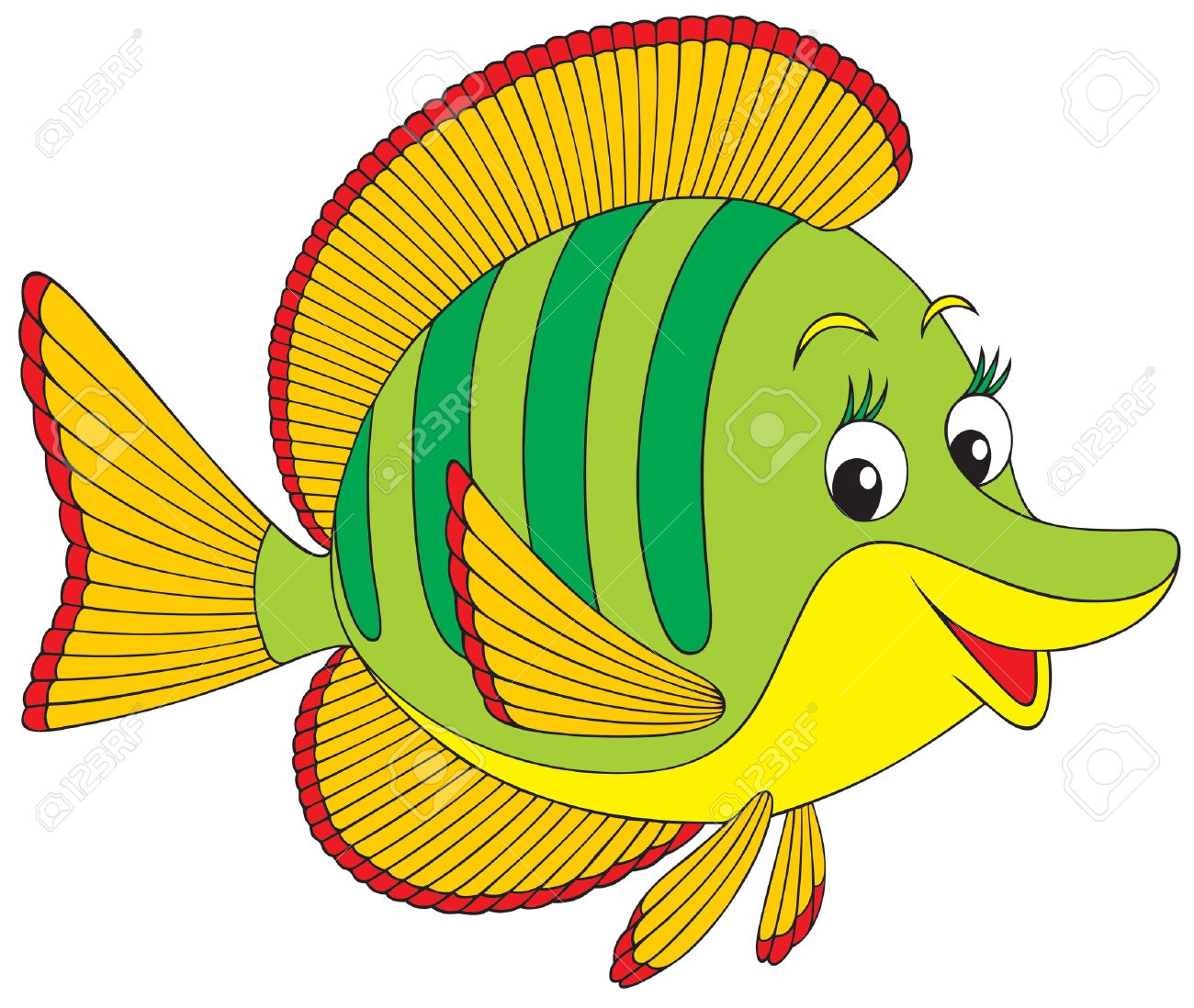 sea animals coloring pages - angel fish clipart