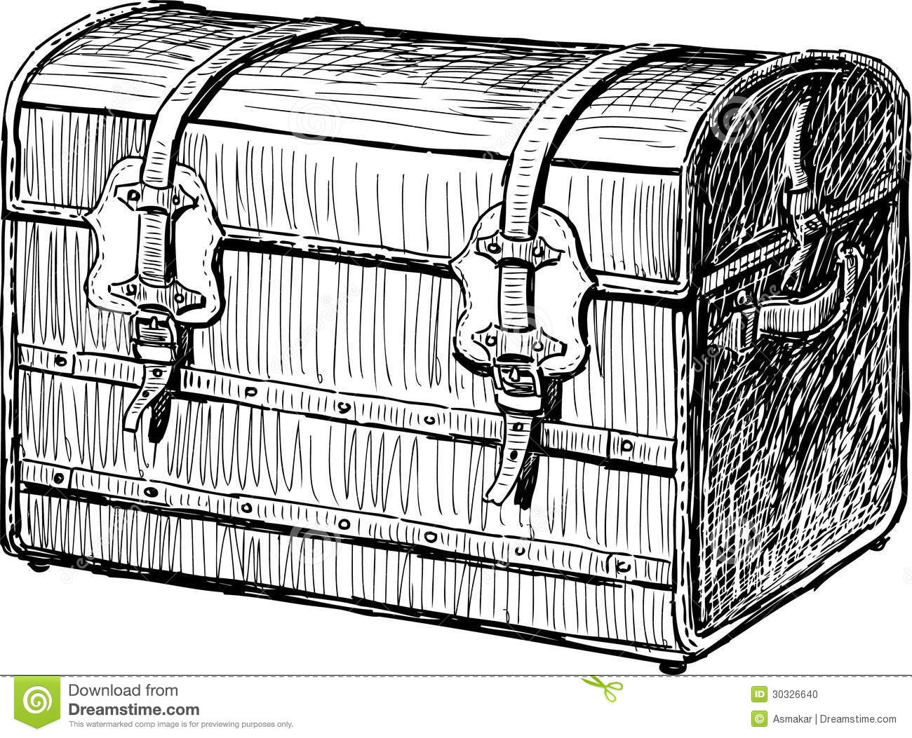 sea animals coloring pages - stock photo old chest vector imae ancient box image