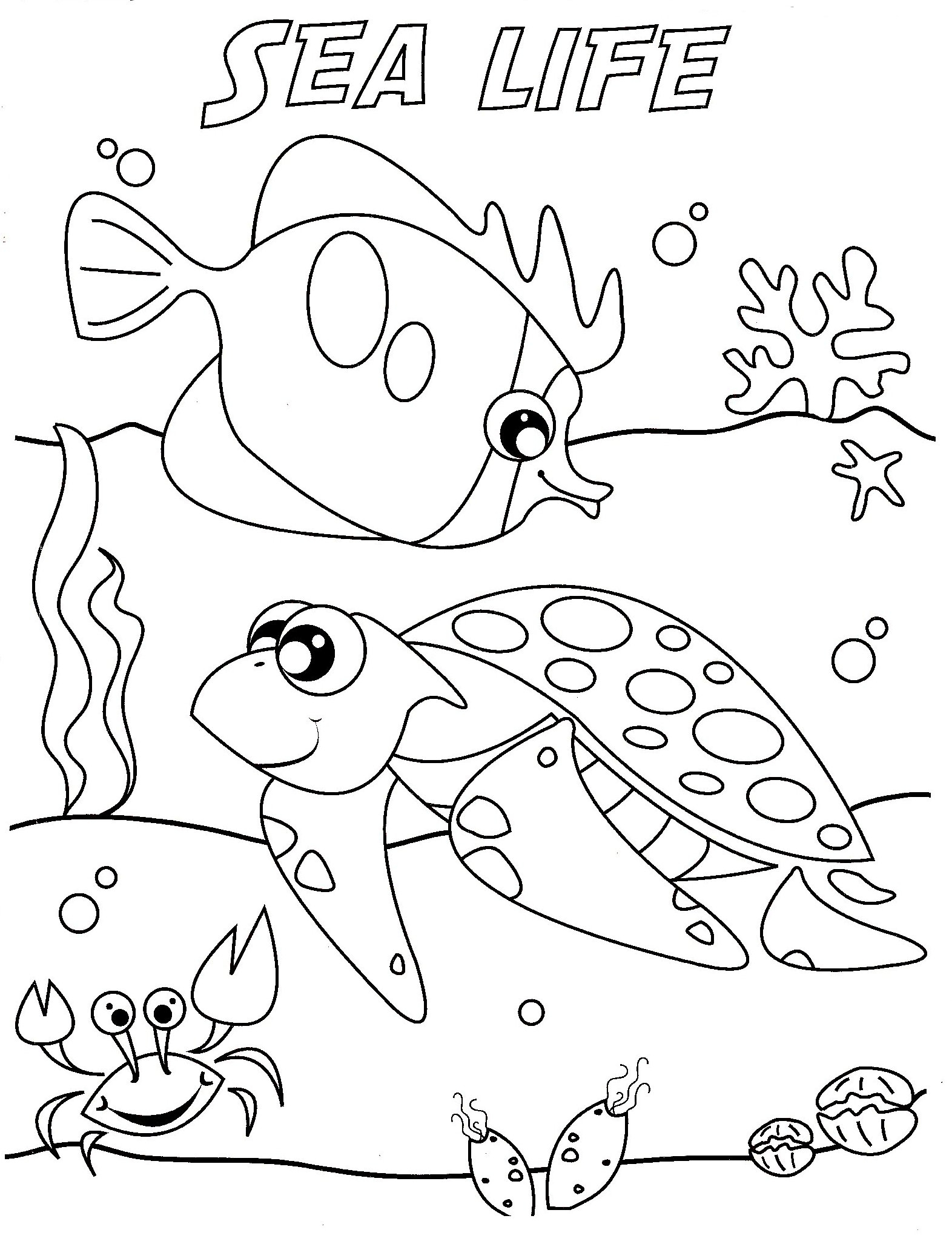 sea animals coloring pages - sea creature coloring