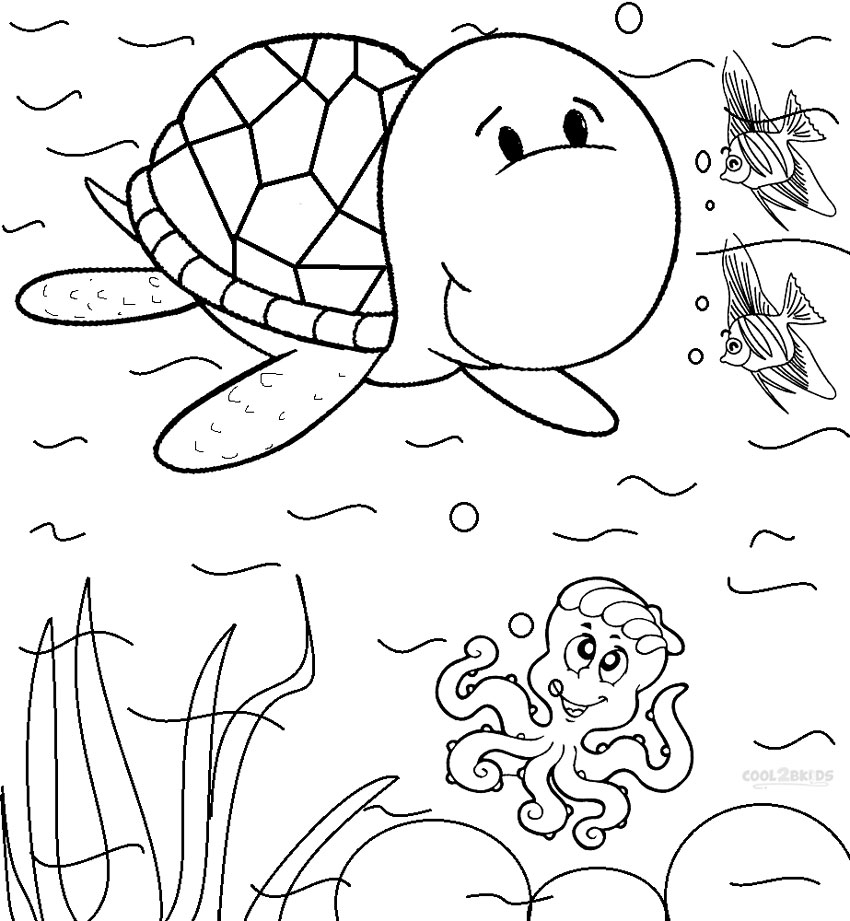 sea coloring pages - sea turtle coloring pages