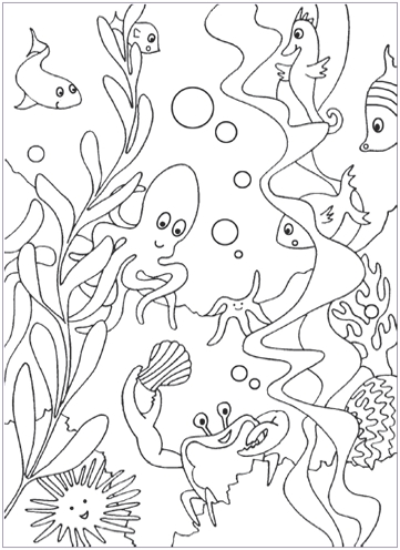 sea coloring pages - under the sea coloring pages