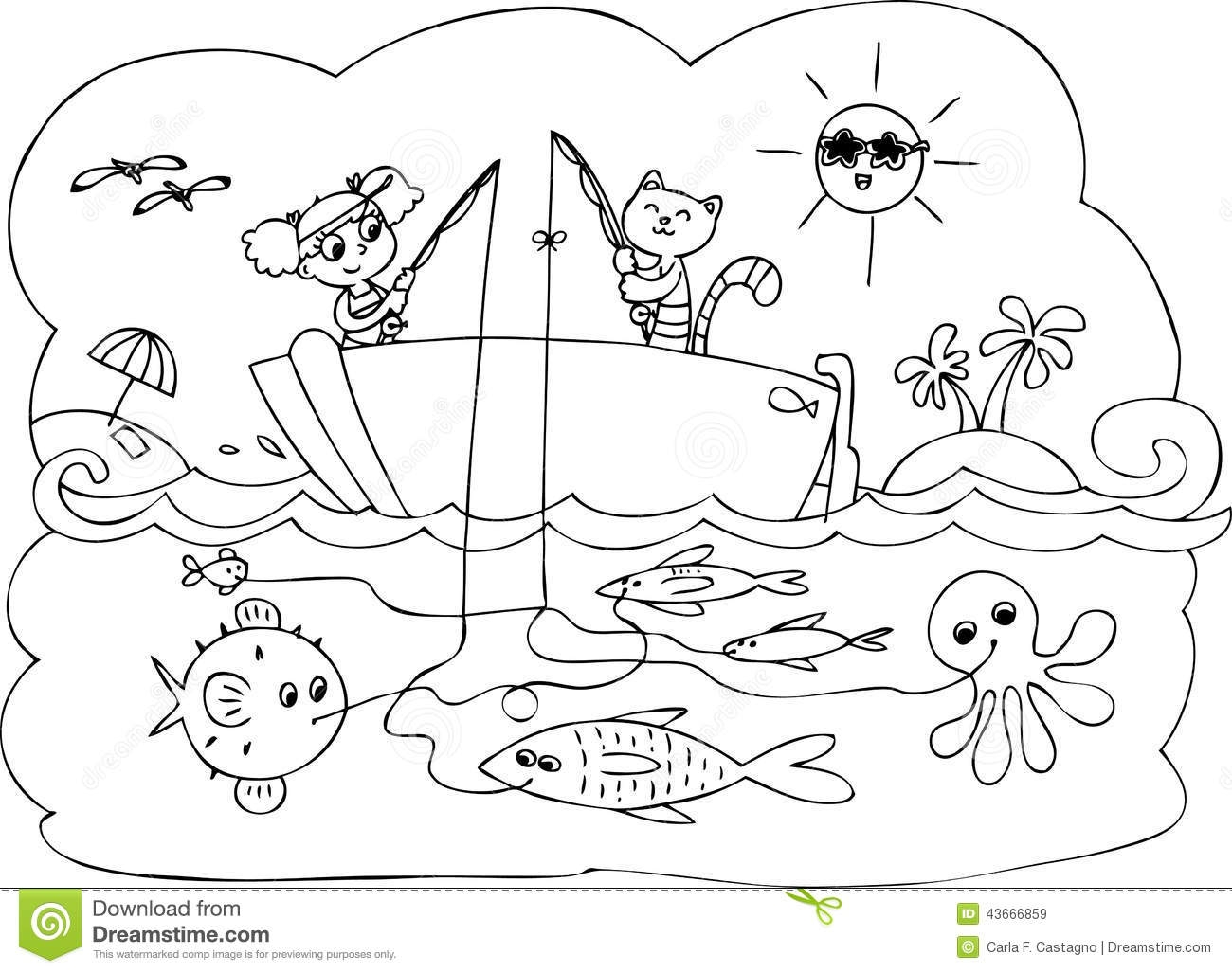 sea creatures coloring pages - stock illustration fish boat game coloring maze little children fishing image