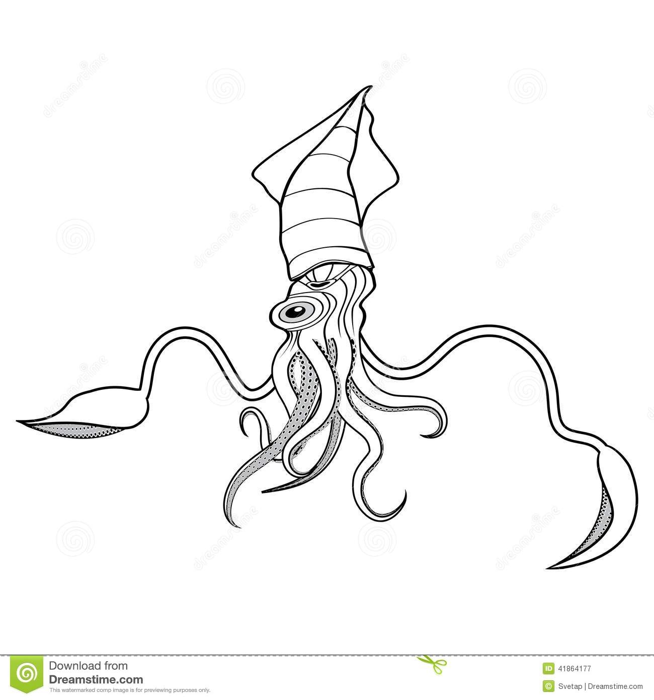 sea life coloring pages - stock illustration giant squid illustration ocean water animal sketch tattoo symbol t shirt icon diving design image