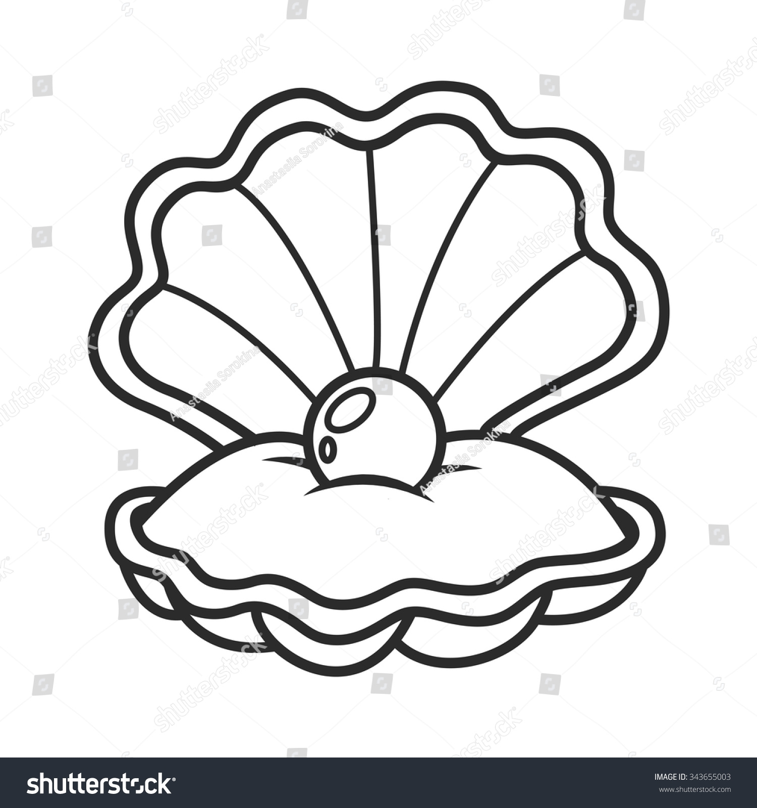 sea life coloring pages - stock vector open seashell with pearl part of the collection of marine life