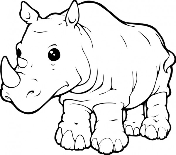 sea otter coloring page - rhino coloring page