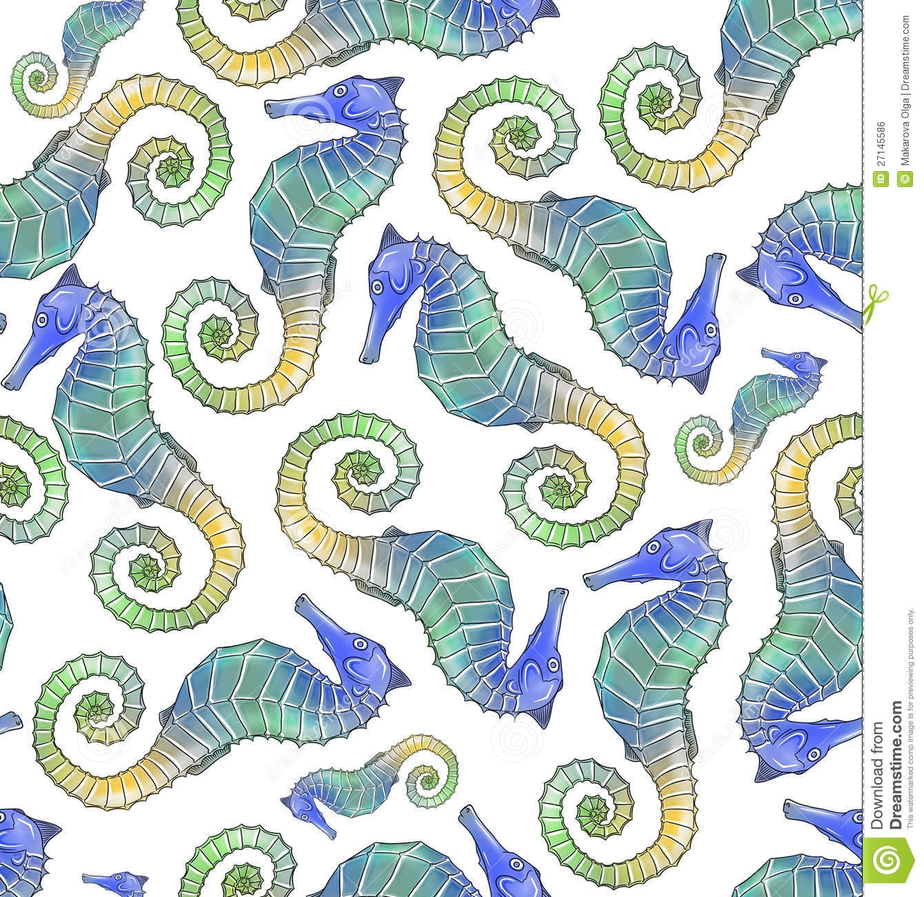 seahorse coloring page - royalty free stock image seahorse seamless pattern tile image