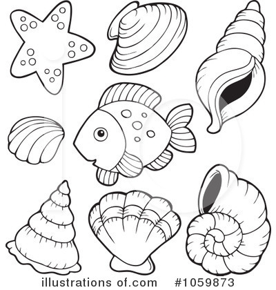 seashell coloring page - royalty free fish clipart illustration