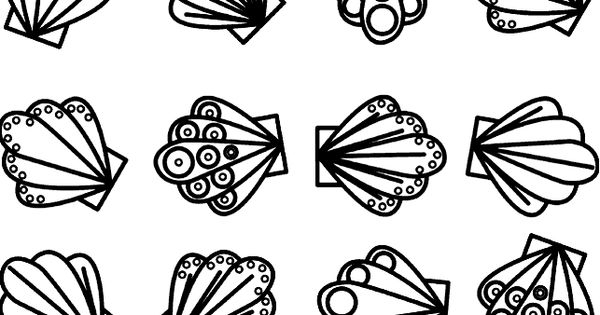 seashell coloring page -
