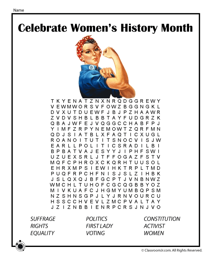 seasons coloring pages - womens history word search