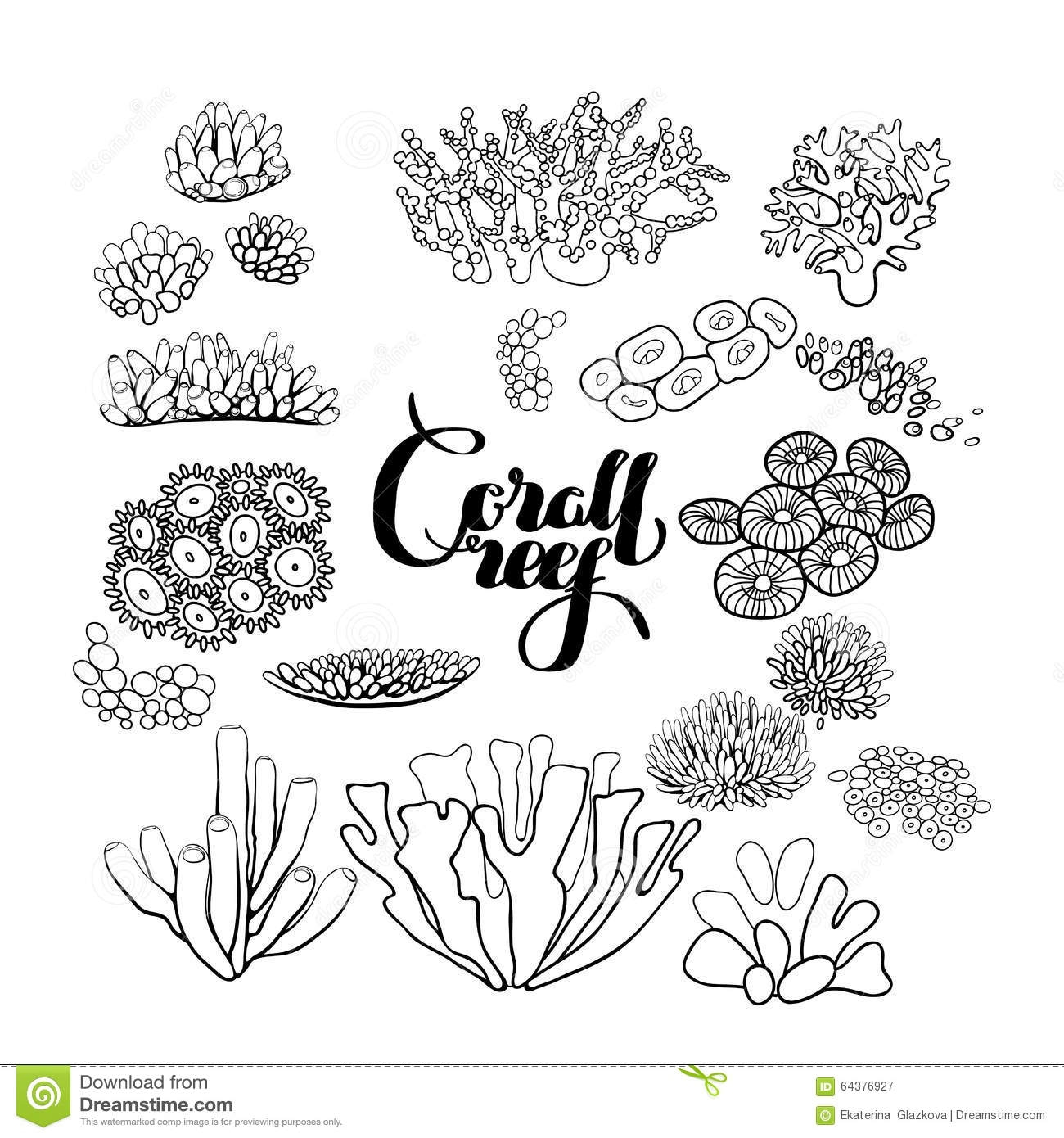 seaweed coloring pages - stock illustration collection coral reef elements ocean plants drawn line art style white coloring page design image