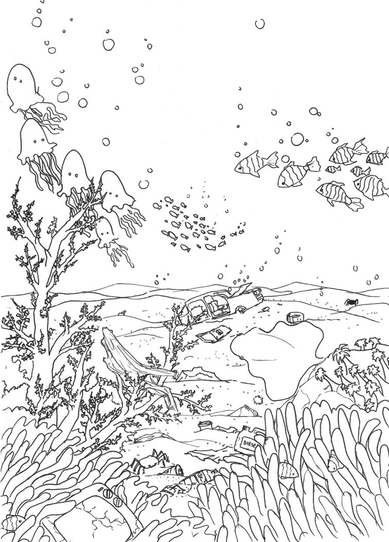 seaweed coloring pages - Underwater