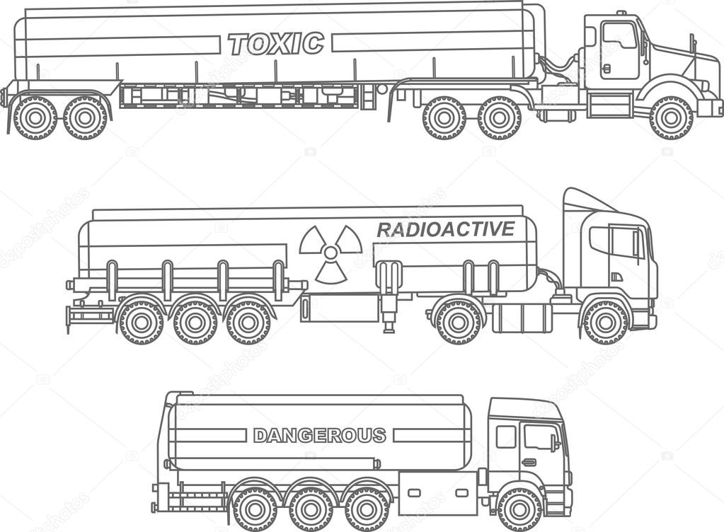 semi truck coloring pages - stock illustration coloring pages set of different