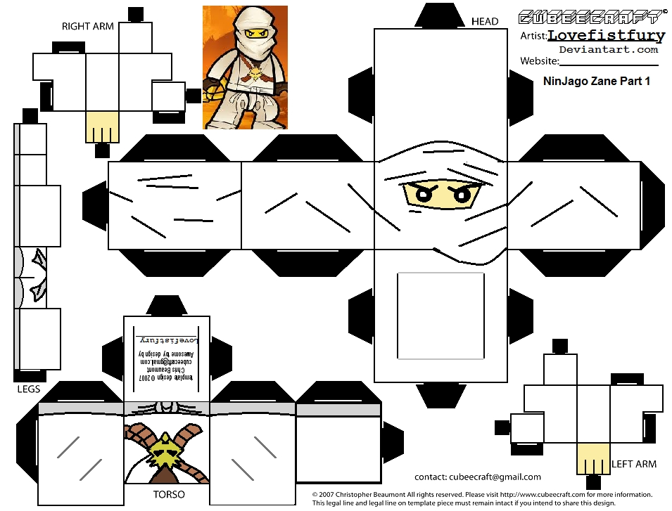 september coloring pages - Ninjago Zane Cubee part 1