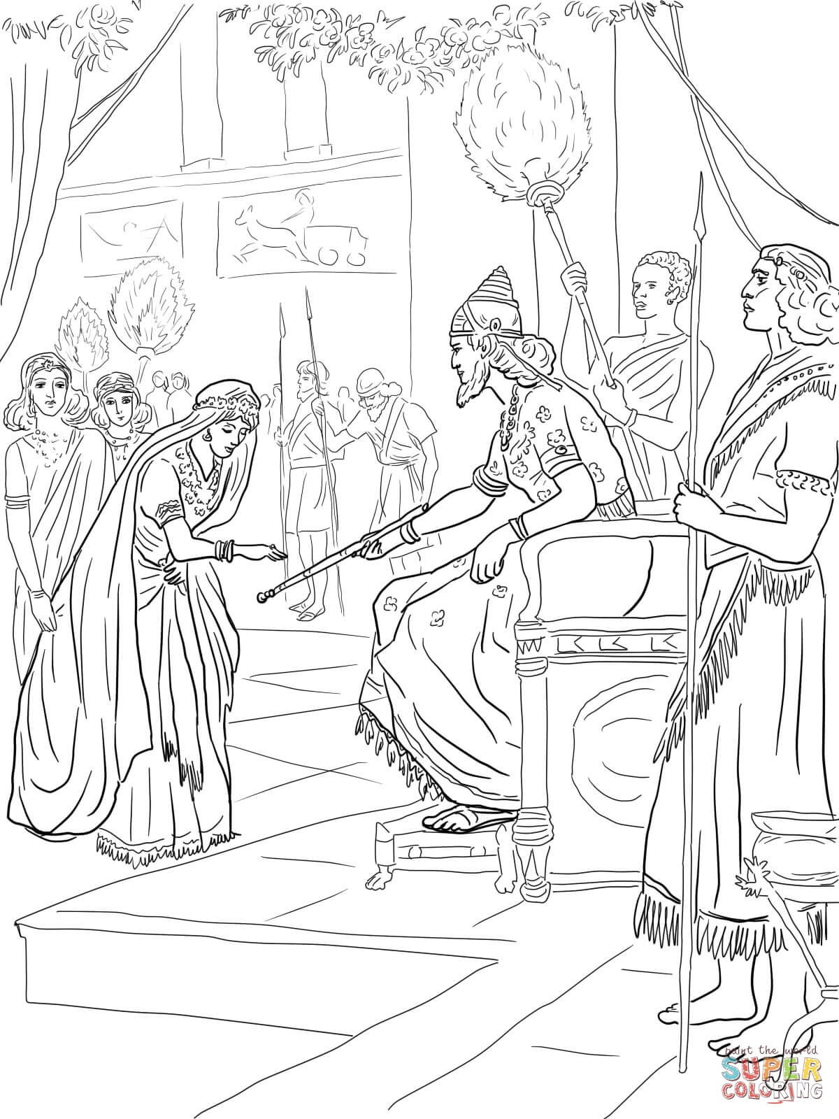 shadrach meshach and abednego coloring page - esther und koenig xerxes