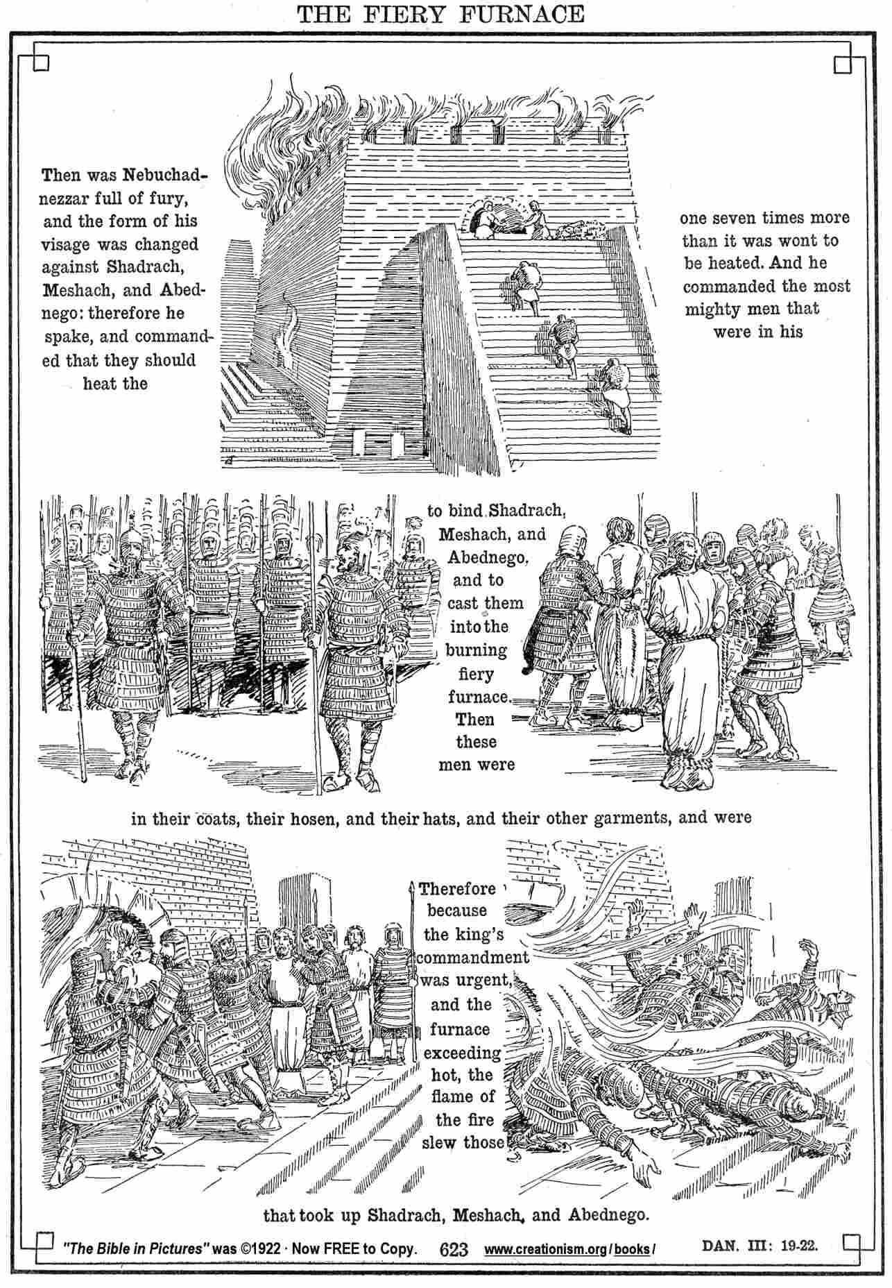 shadrach meshach and abednego coloring page - Bible27Dan03 19 22
