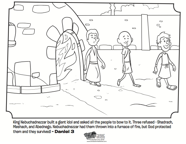 shadrach meshach and abednego coloring page - shadrach meshach and abednego