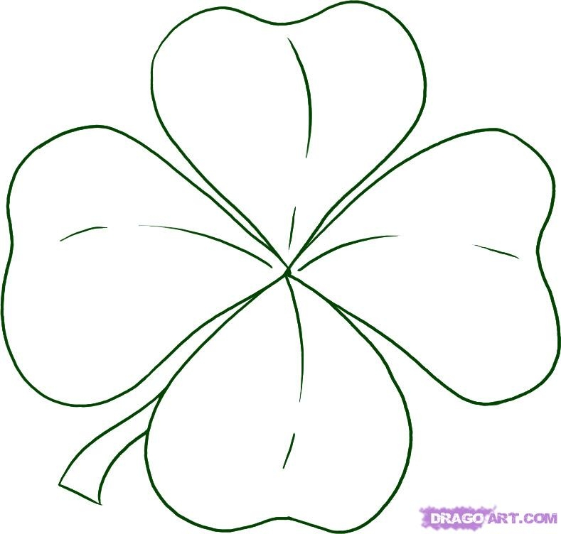 shamrock coloring page - picture of a 4 leaf clover