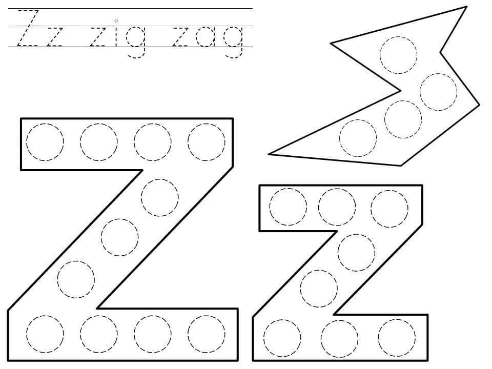 shapes coloring pages - do a dot letter z printable