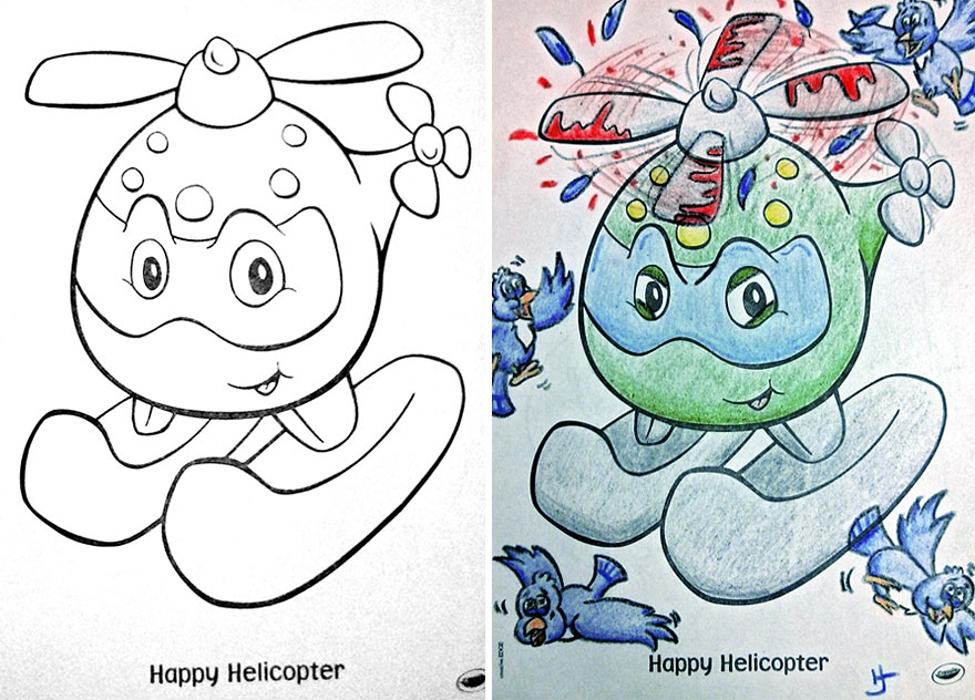 sharing coloring page - funny evil children coloring book corruptions