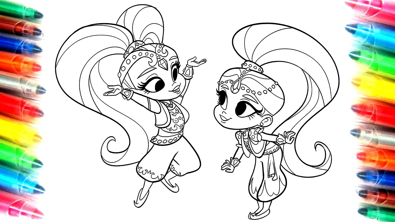 shimmer and shine coloring pages - watch v=rwp5j8KpvCo