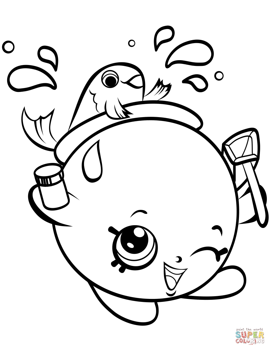 Shopkin Coloring Pages - Gol Fishbowl Petkins Shopkin Coloring Page