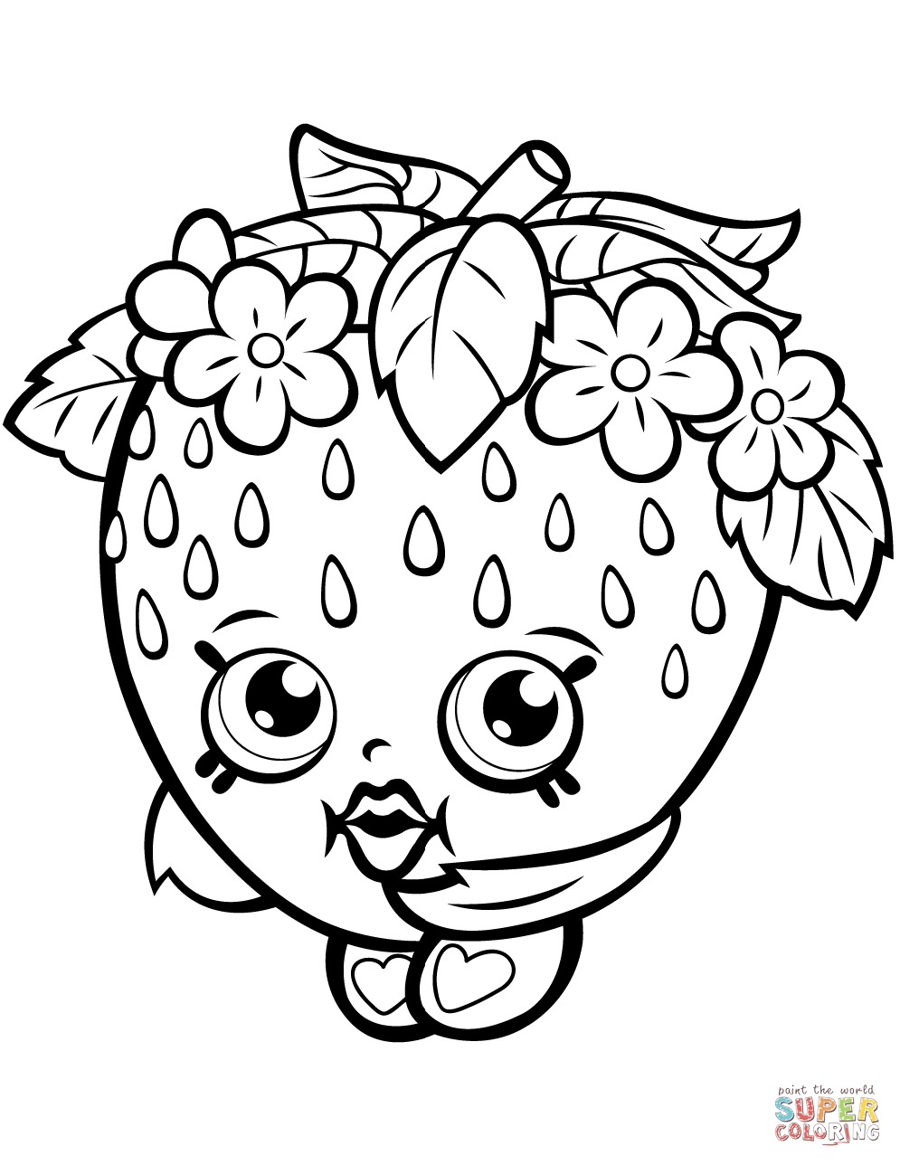 shopkin coloring pages - strawberry kiss shopkin