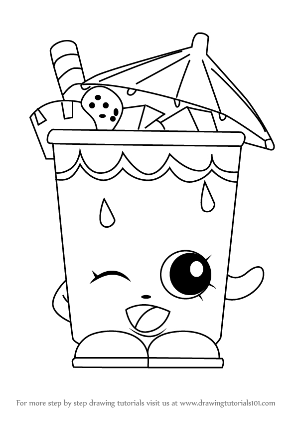 shopkins shoppies coloring pages - how to draw little sipper from shopkins