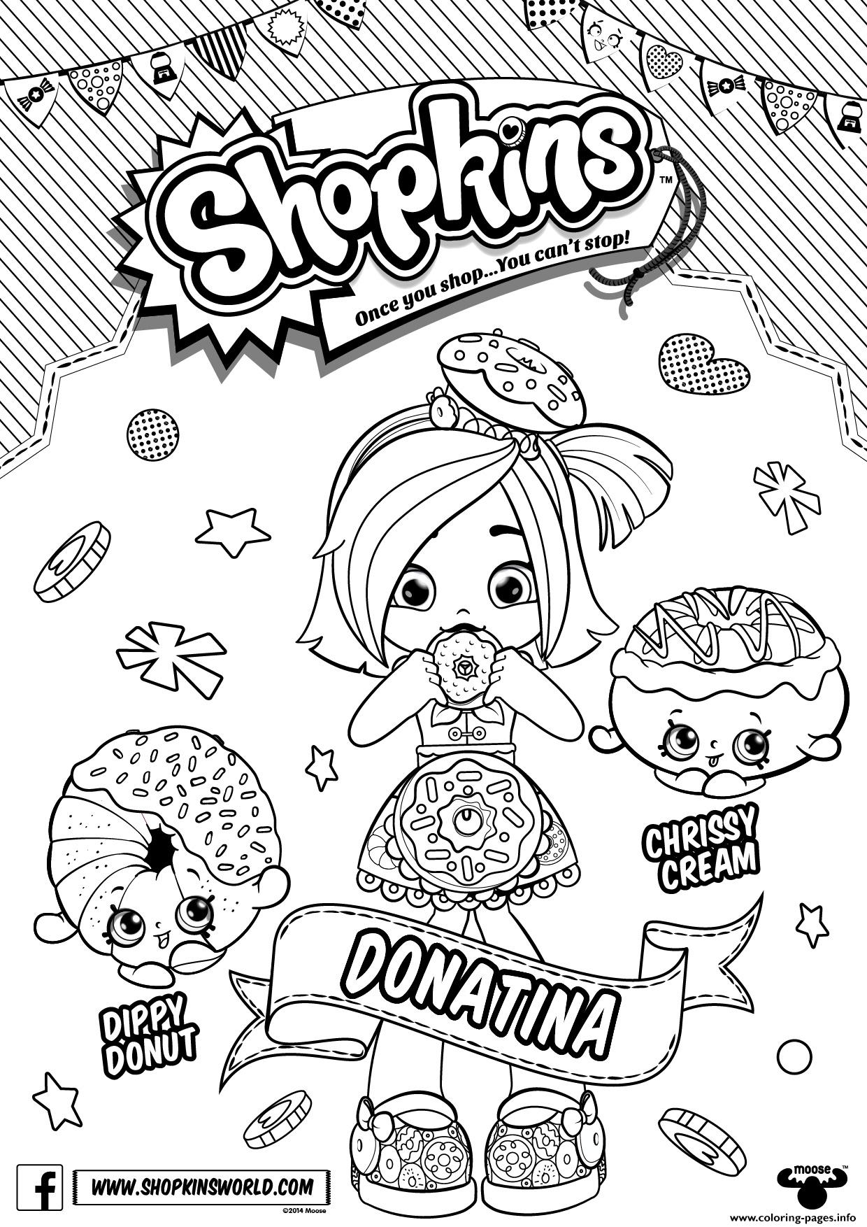 shoppies coloring pages - donatina shopkins shoppies printable coloring pages book