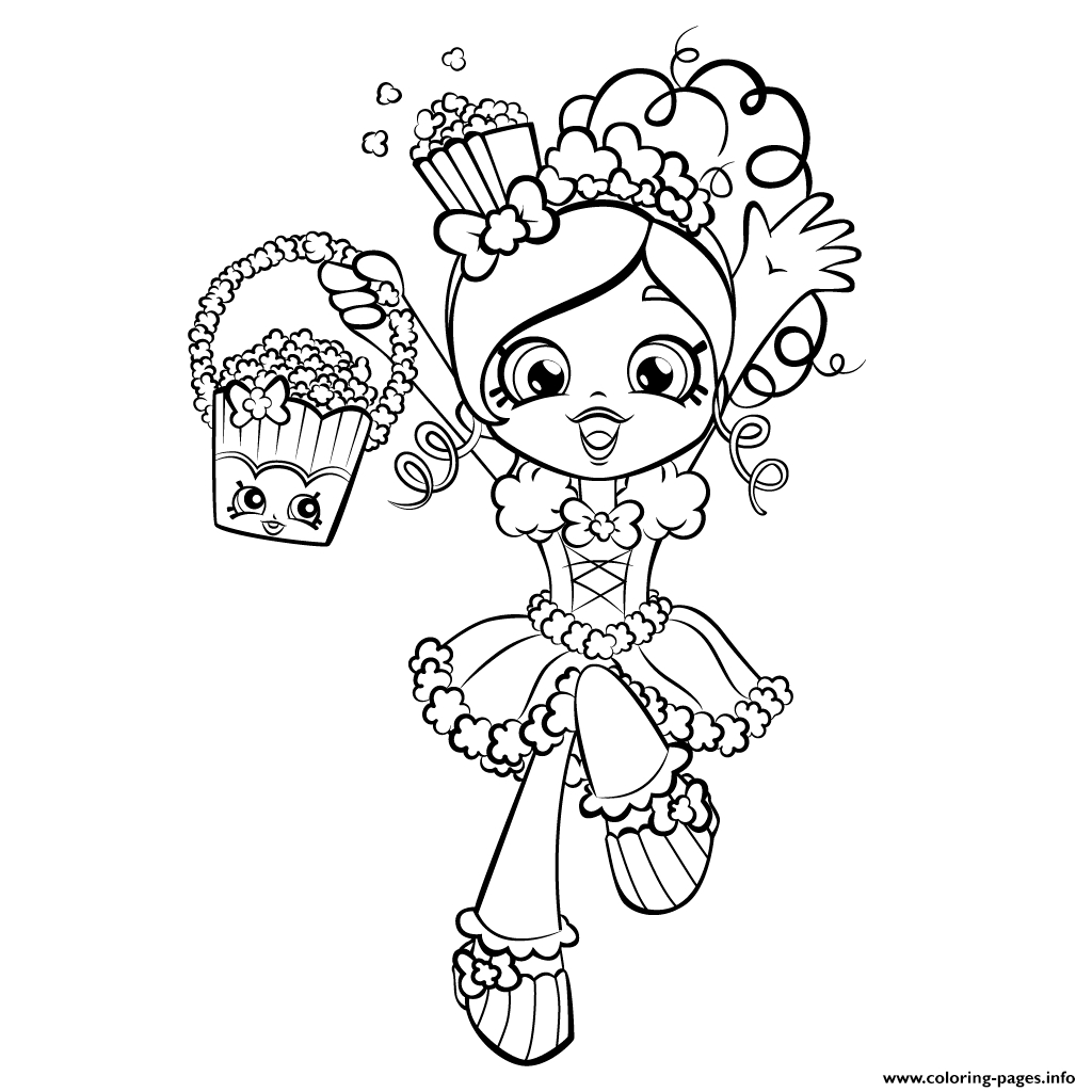 shoppies coloring pages - happy shopkins shoppies with popcorn printable coloring pages book