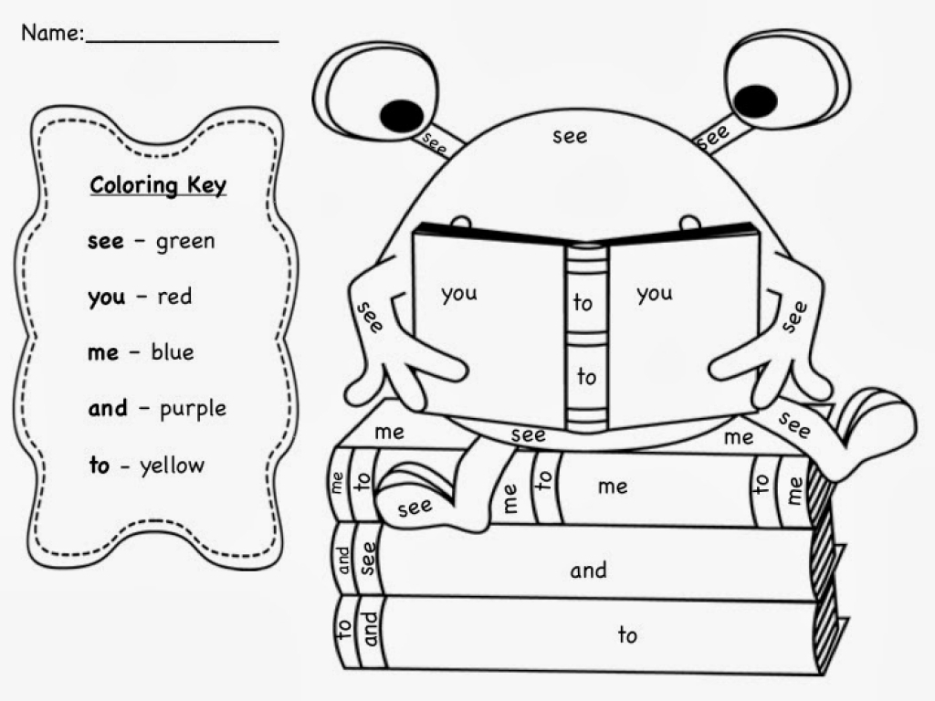 sight word coloring pages - education sight word coloring pages for kindergarten