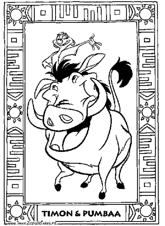 simba coloring pages - roi lion timon et pumba