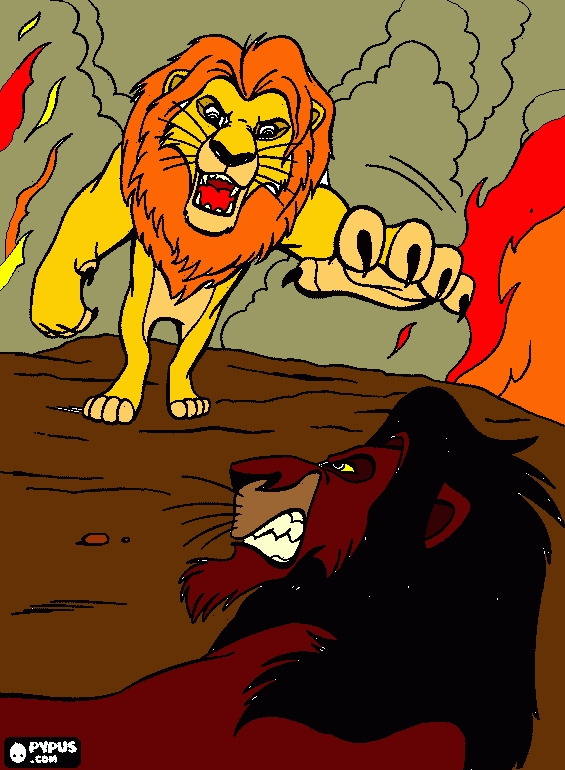 simba coloring pages - coloring page simba vs scar