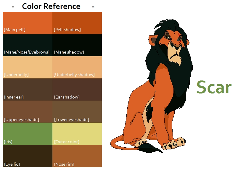 simba coloring pages - TLK Scar Color Reference
