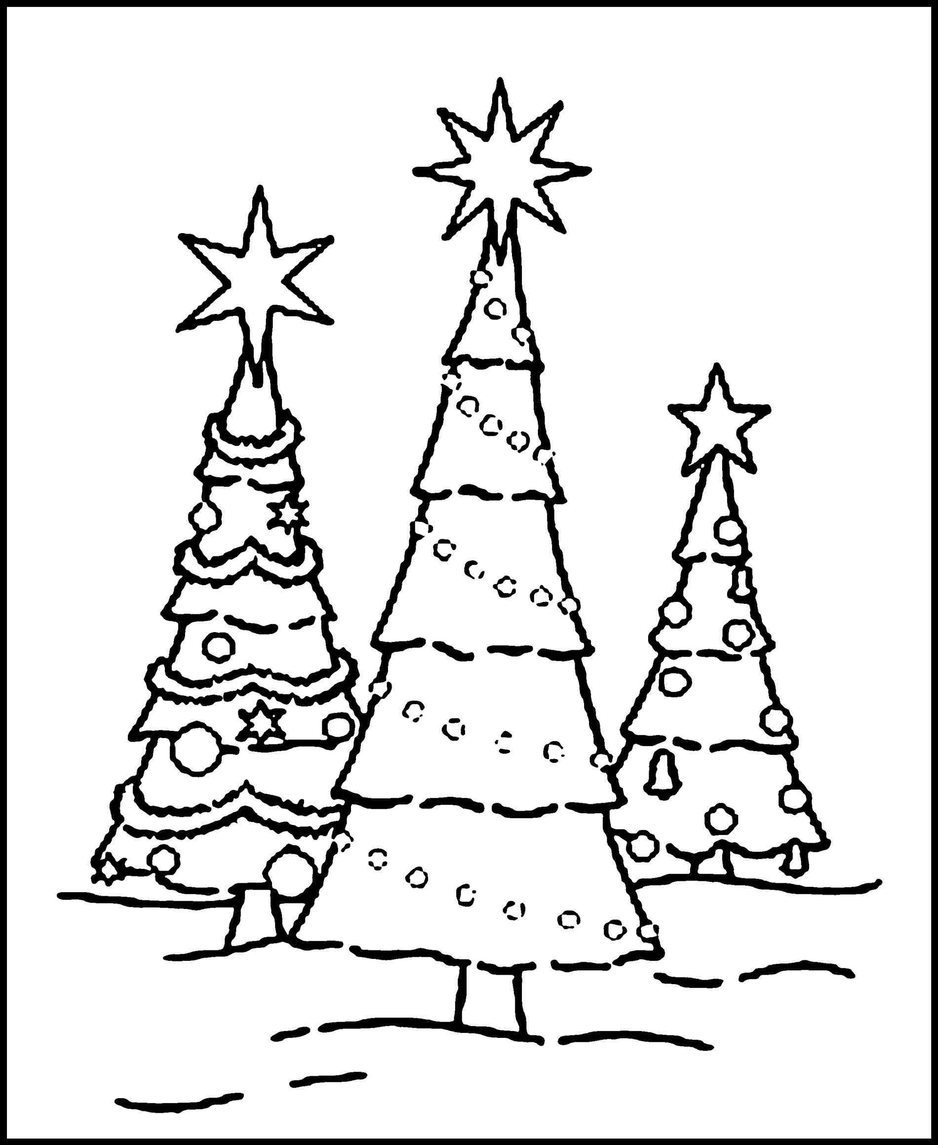 simple adult coloring pages - christmas tree coloring pages adults 3