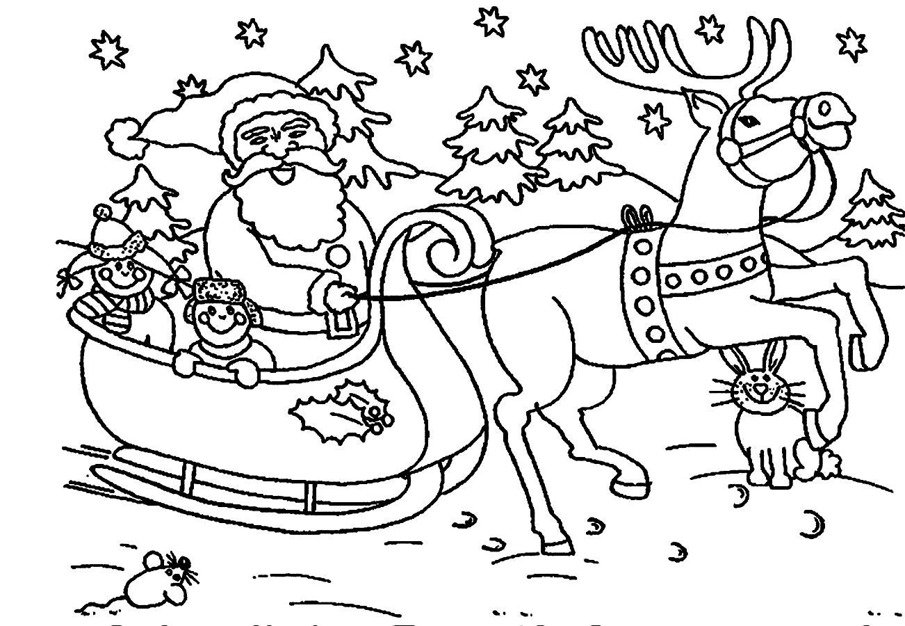 Simple Coloring Pages - Simple Christmas Coloring Pages Santa and Reindeer Santa
