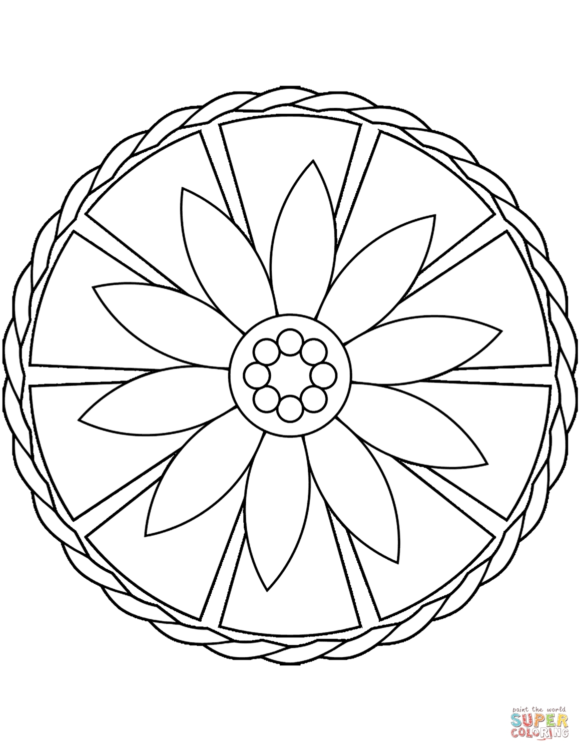 simple coloring pages - simple mandala with flower 0