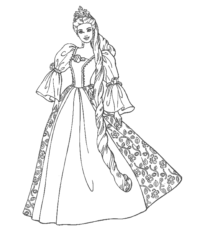 simple flower coloring pages - disney cartoon barbie doll princess