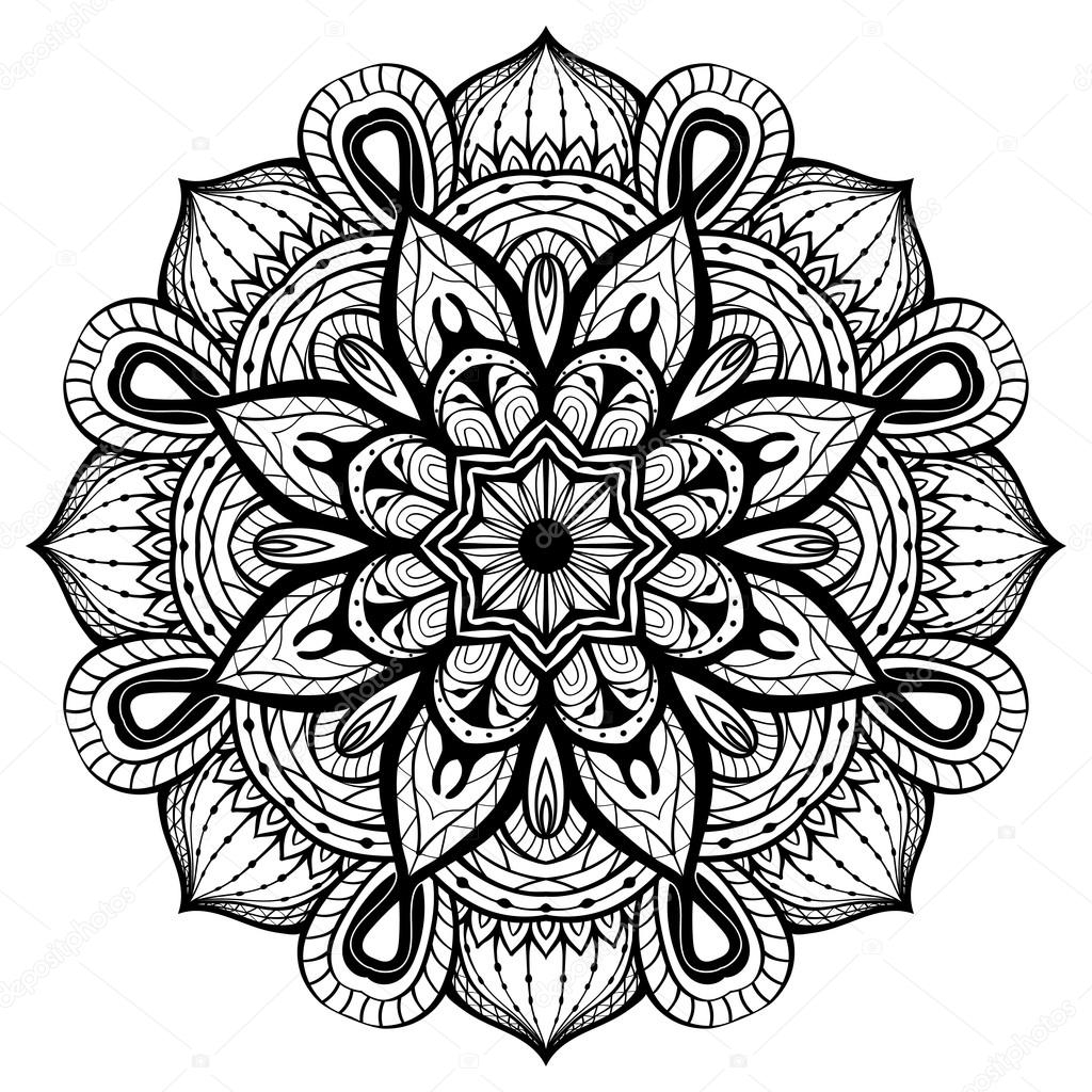 simple flower coloring pages - stock illustration east abstract vector mandala on