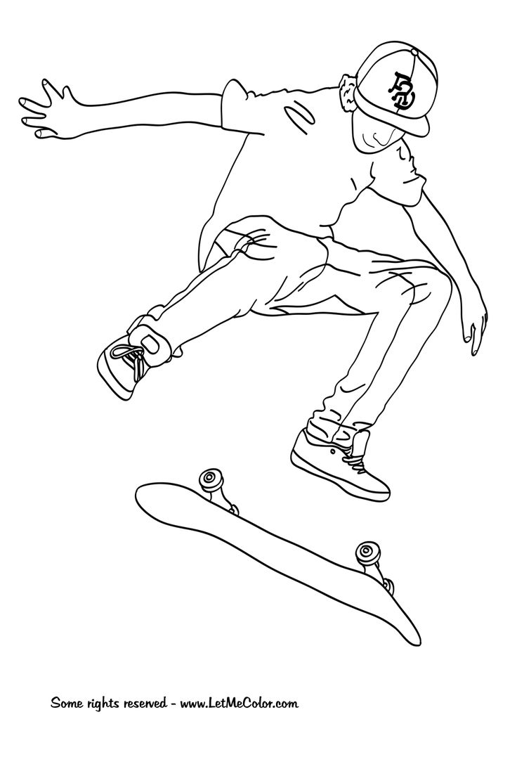 skateboard coloring page -