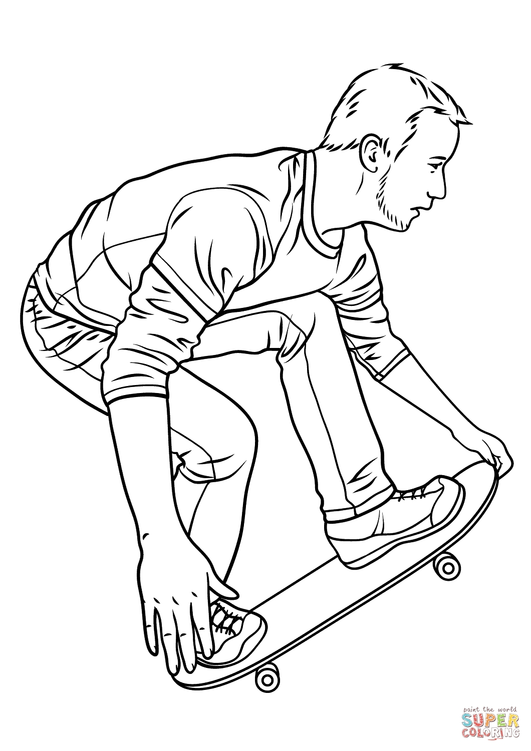 Skateboard Coloring Page - Skateboarding Coloring Page