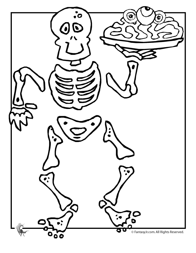 skeleton coloring pages - skeleton halloween color 2