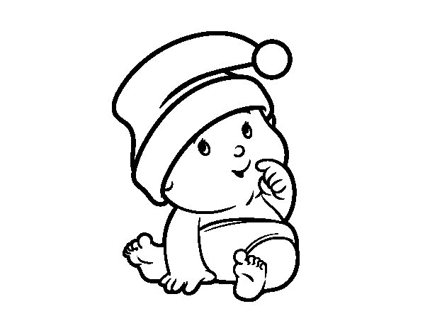 skiing coloring pages - baby with santa claus hat