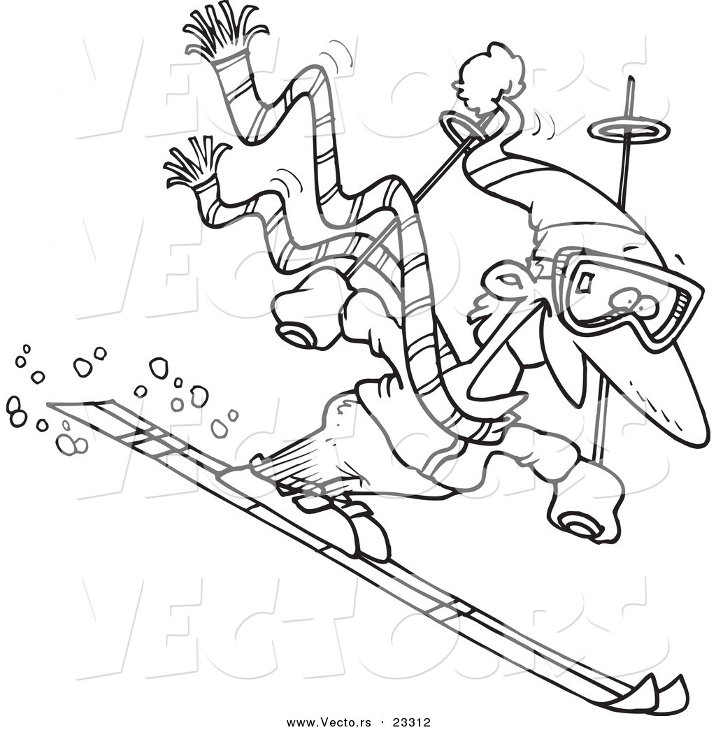skiing coloring pages - cartoon vector of cartoon skier guy coloring page outline by toonaday