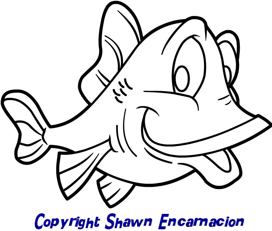 skiing coloring pages - simple cartoon fish