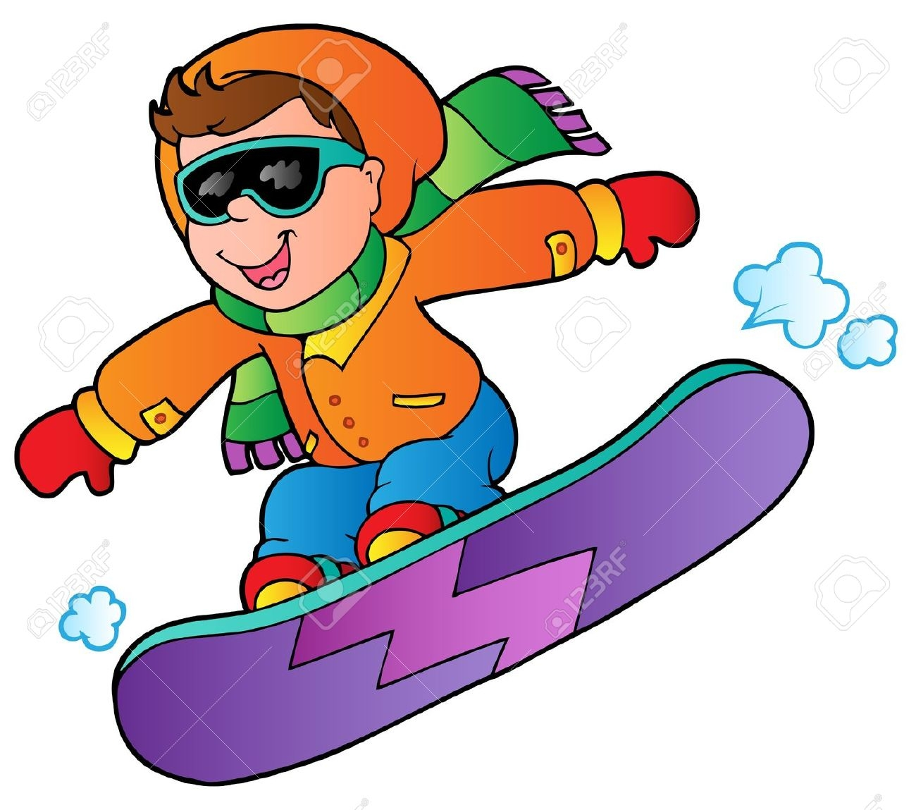 skiing coloring pages - snowboard clipart