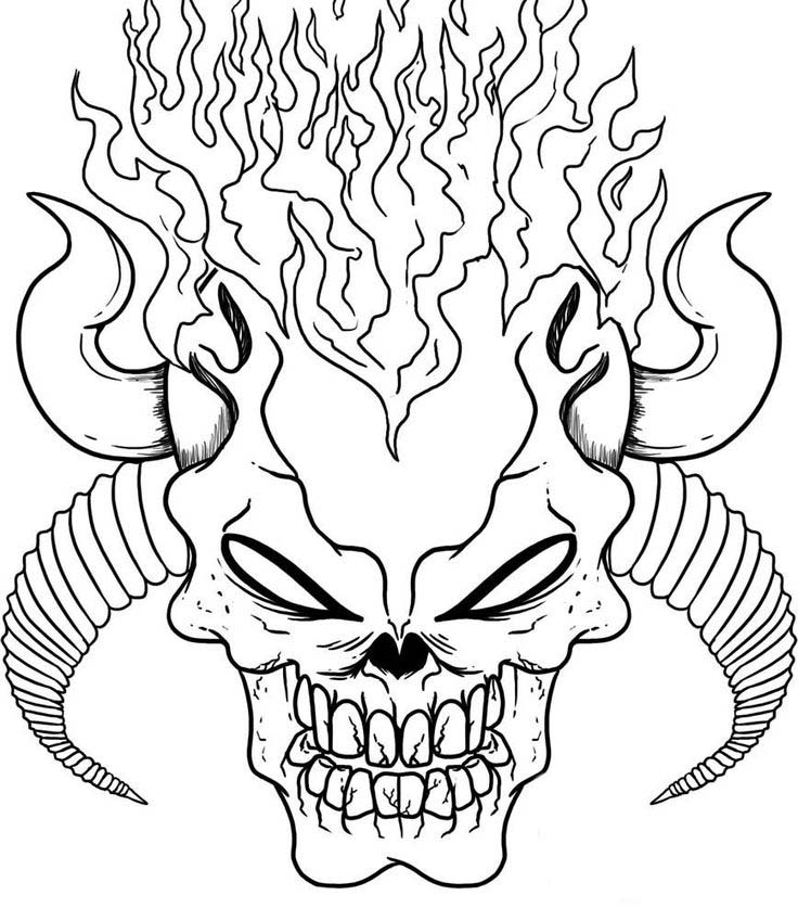 skull coloring pages for adults - best devil skull coloring pages on fire 2608