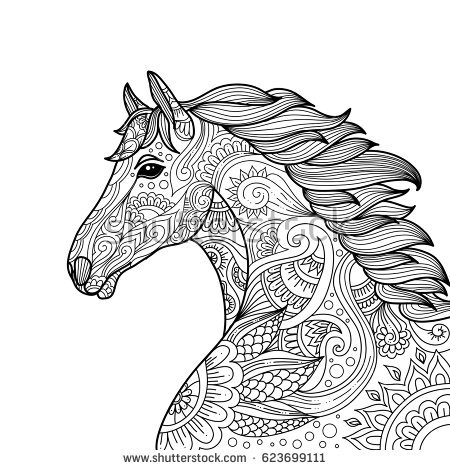 skull coloring pages for adults - horse head coloring page