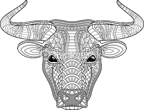 Skull Coloring Pages for Adults - Vektor Tribal Dekorative Bull Vektorgrafik